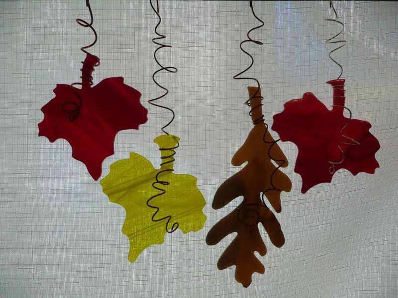 Hand Cut Glass Fall Leaves Ornaments